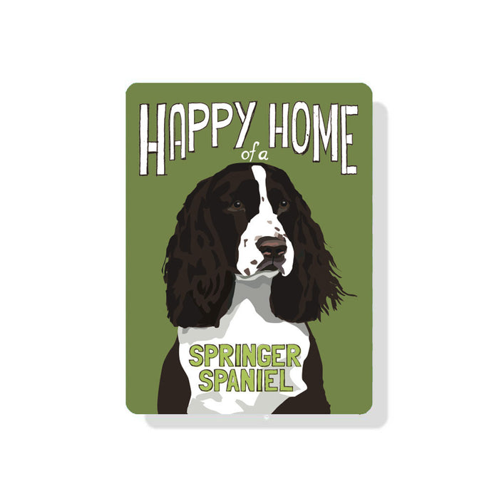 "Happy Home of a Springer Spaniel (Chocolate Dog) sign 9"" x 12"""