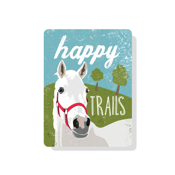 "Happy Trails Sign 9"" x 12"" -  Blue"