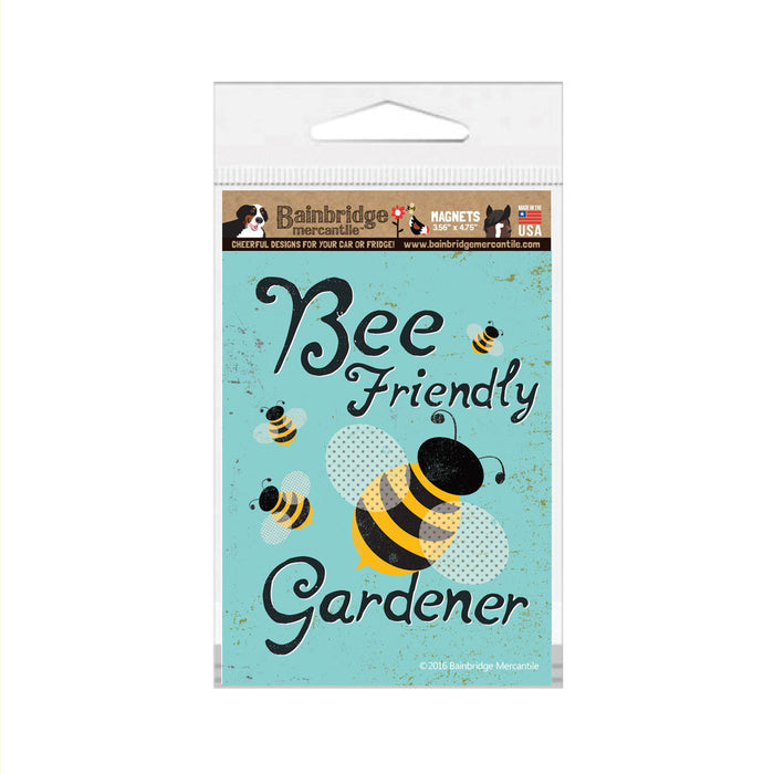 "Bee Friendly Gardener Magnet - 3.56"" x 4.75"""