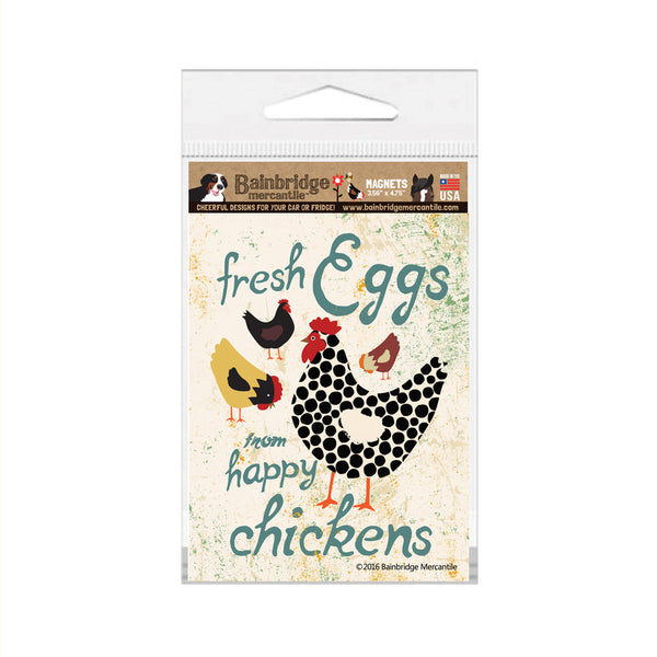 "Fresh Eggs From Happy Chickens Magnet (Seaport) - 3.56"" x 4.75"""