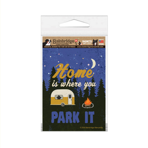 "Home is Where You Park It (Yellow Trailer) Magnet - 3.56"" x 4.75"""
