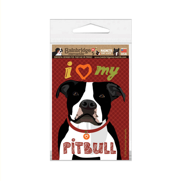 "I (Heart) My Pitbull (Black & White Dog) Magnet -3.56"" x 4.75"""