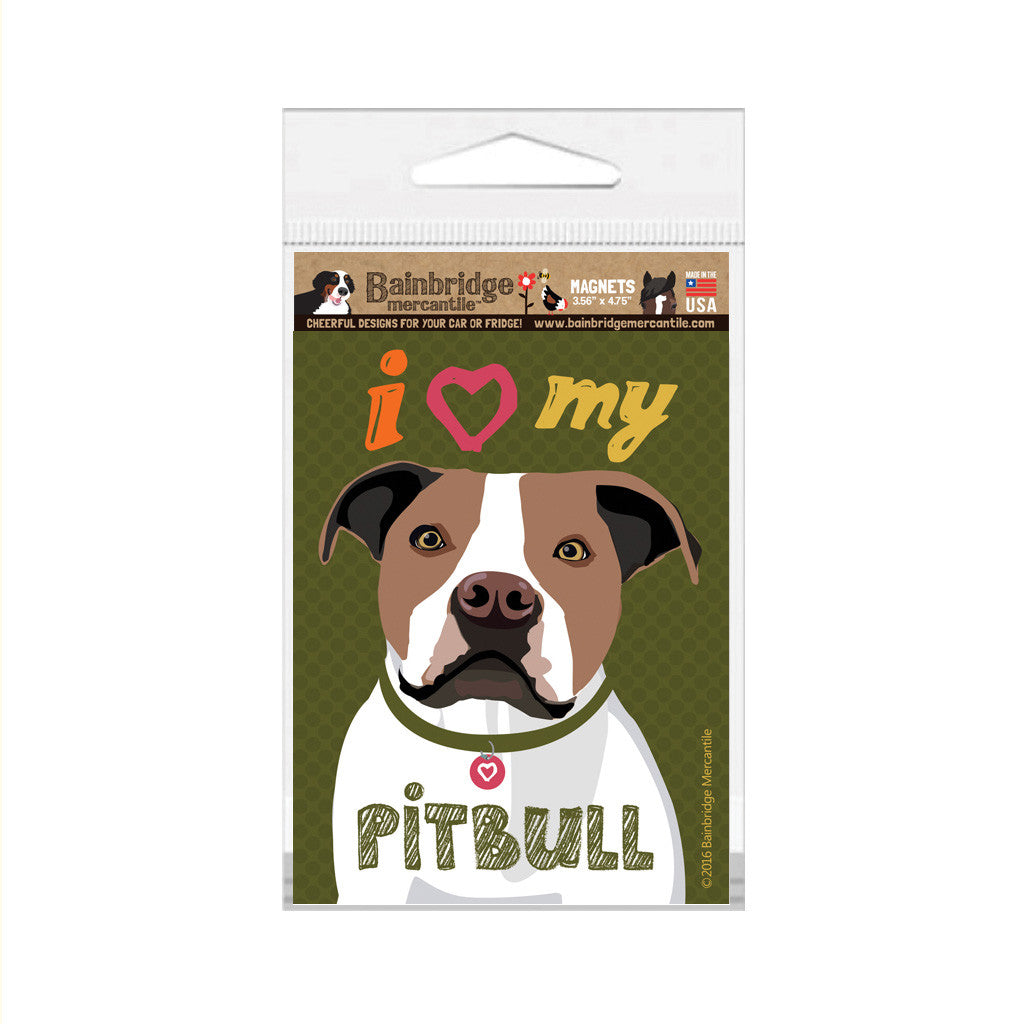 "I (Heart) My Pitbull (Brown & White Dog) Magnet -3.56"" x 4.75"""