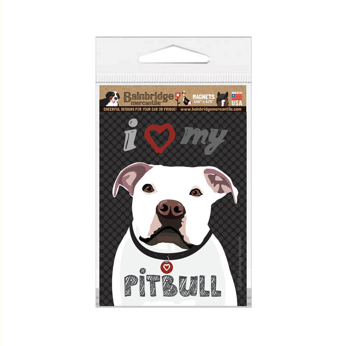 "I (Heart) My Pitbull (White Dog) Magnet -3.56"" x 4.75"""