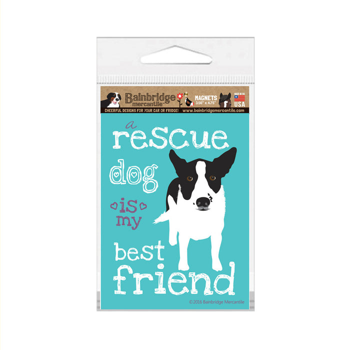"A Rescue Dog Is My Best Friend (B & W Dog) Magnet -3.56"" x 4.75"""