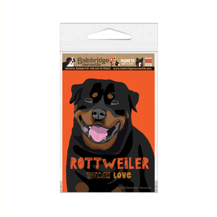 "Rottweiler - Tough Love Magnet -3.56"" x 4.75"""