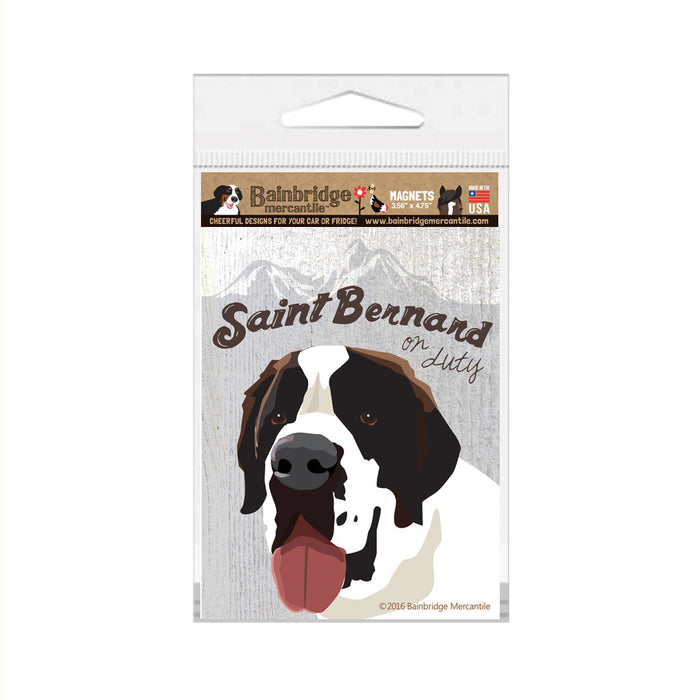 "Saint Bernard On Duty Magnet -3.56"" x 4.75"""