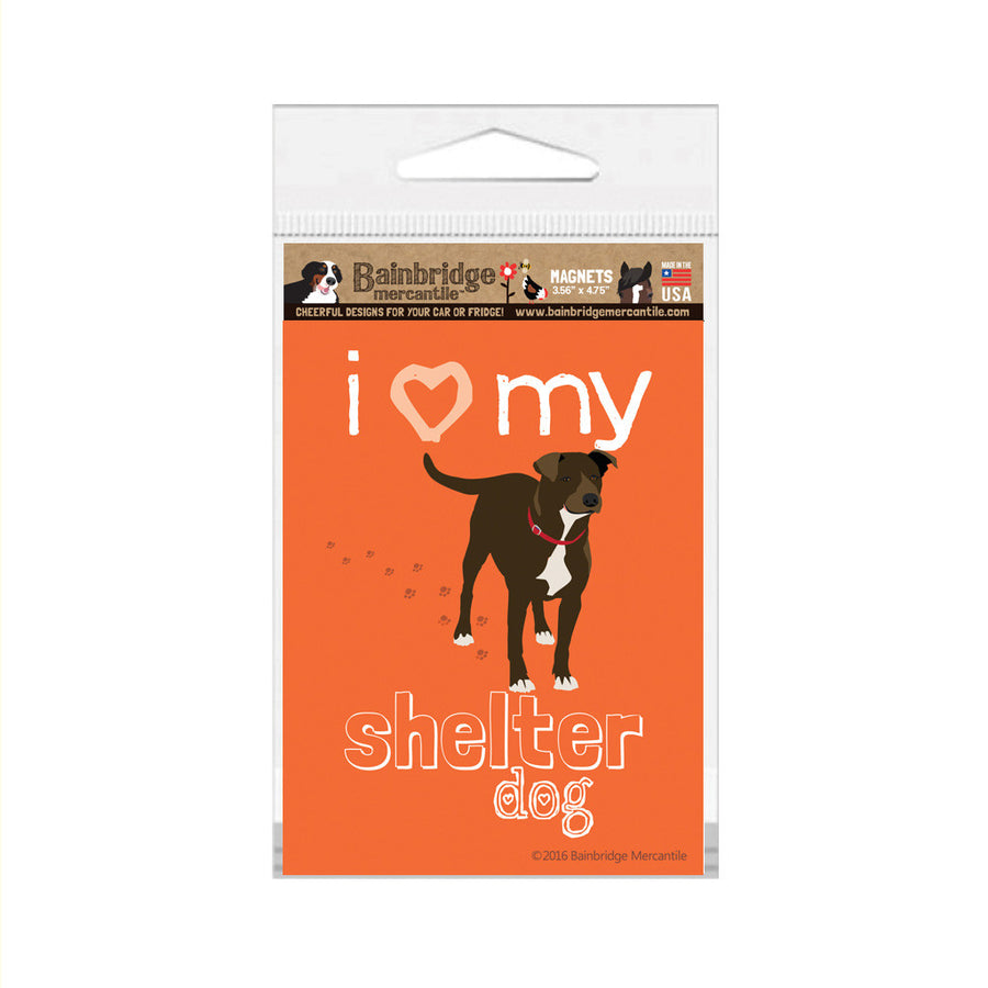 "I (Heart) My Shelter Dog Magnet -3.56"" x 4.75"""
