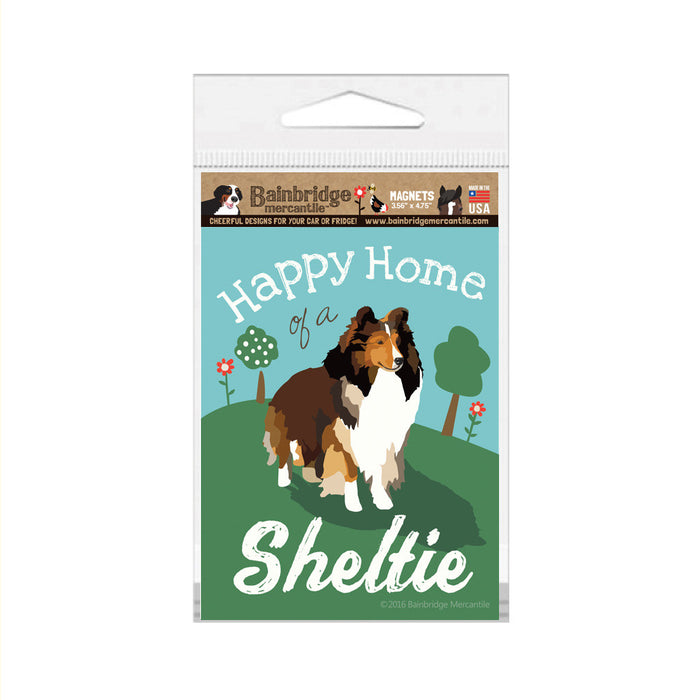 "Happy Home of a Sheltie Magnet -3.56"" x 4.75"""