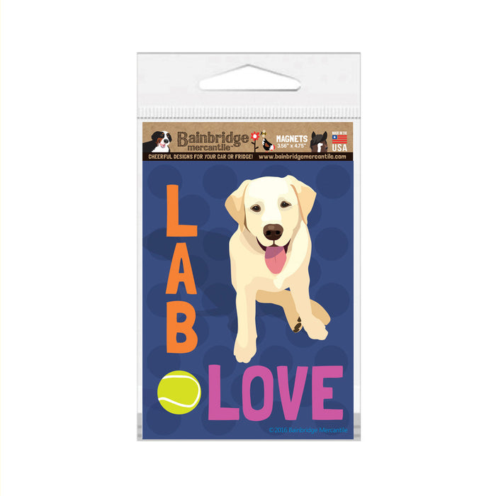 "Lab Love (Yellow) Magnet -3.56"" x 4.75"""