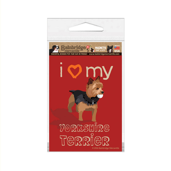 "I Love My Yorkshire Terrier Magnet -3.56"" x 4.75"""