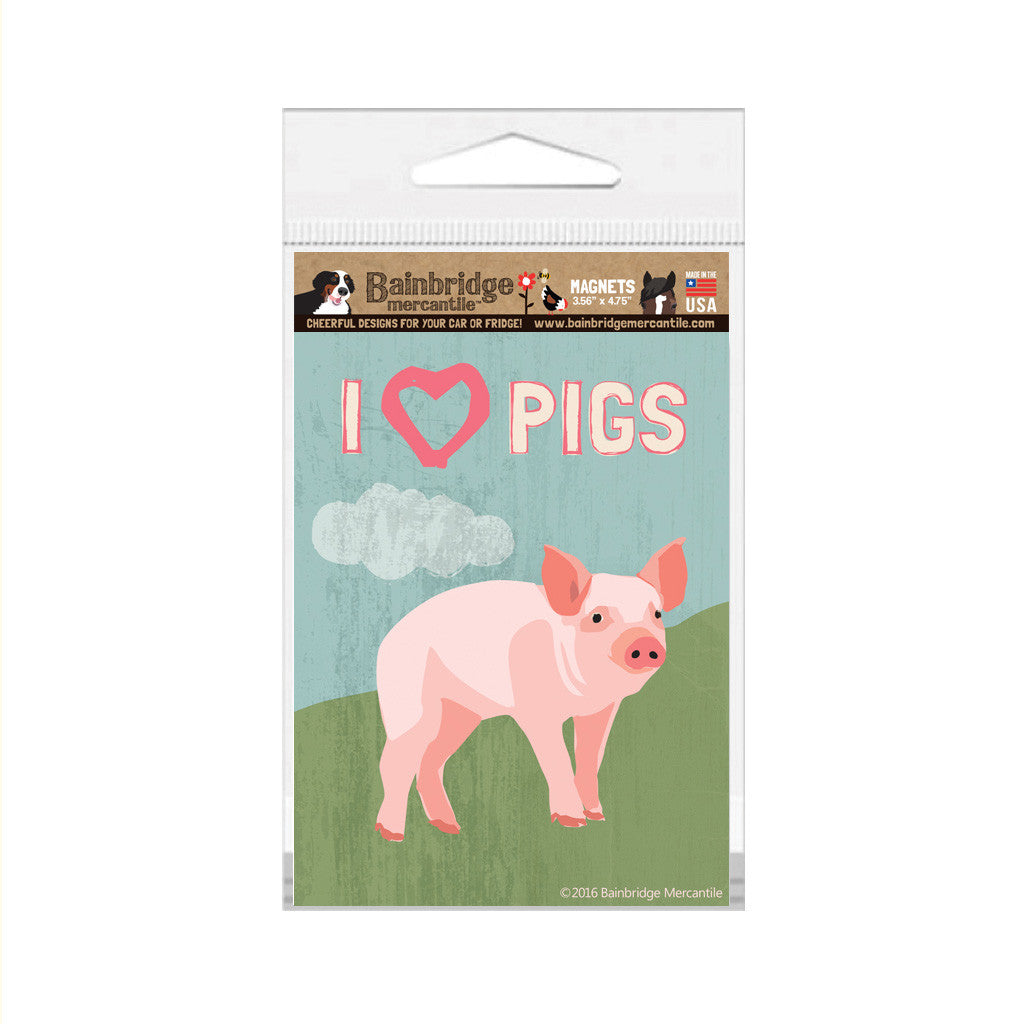 "I (Heart) Pigs Magnet - 3.56"" x 4.75"""