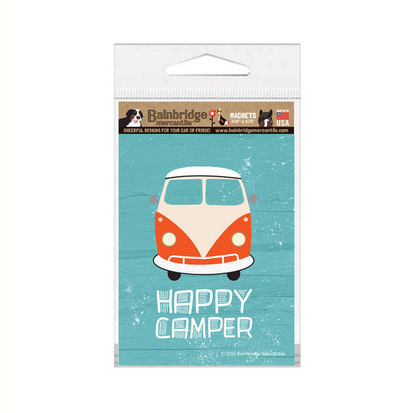 "Happy Camper (Old Van) Magnet -3.56"" x 4.75"""