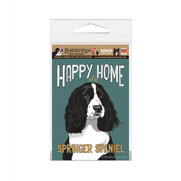 "Happy Home of a Springer (Black) Spaniel Magnet -3.56"" x 4.75"""