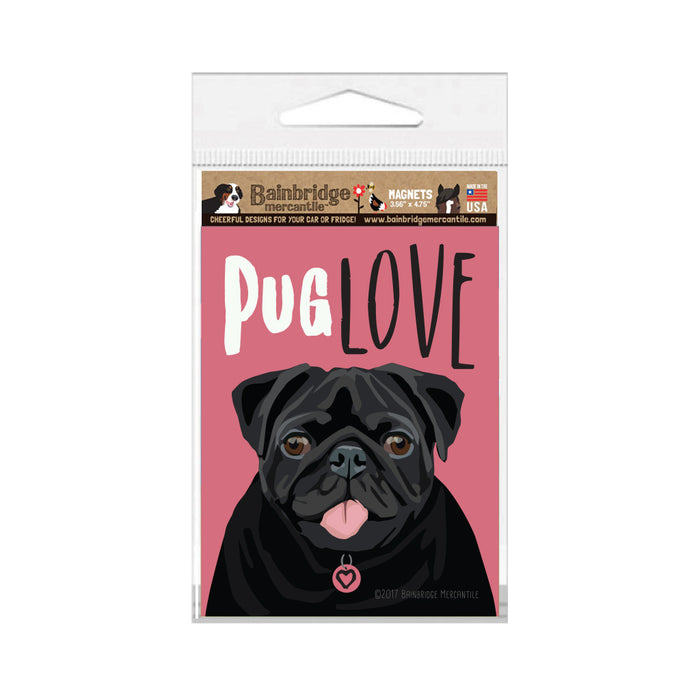 "Pug Love Magnet - (Black Pug) - 3.56"" x 4.75"""