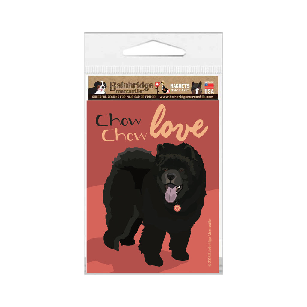 "Chow Magnet (Black dog) - 3.56"" x 4.75"""