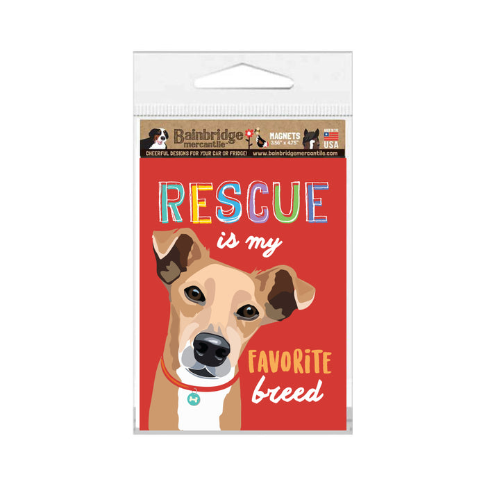"Rescue Dog - Rescue is my Favorite Breed Magnet 3.56"" x 4.75"""