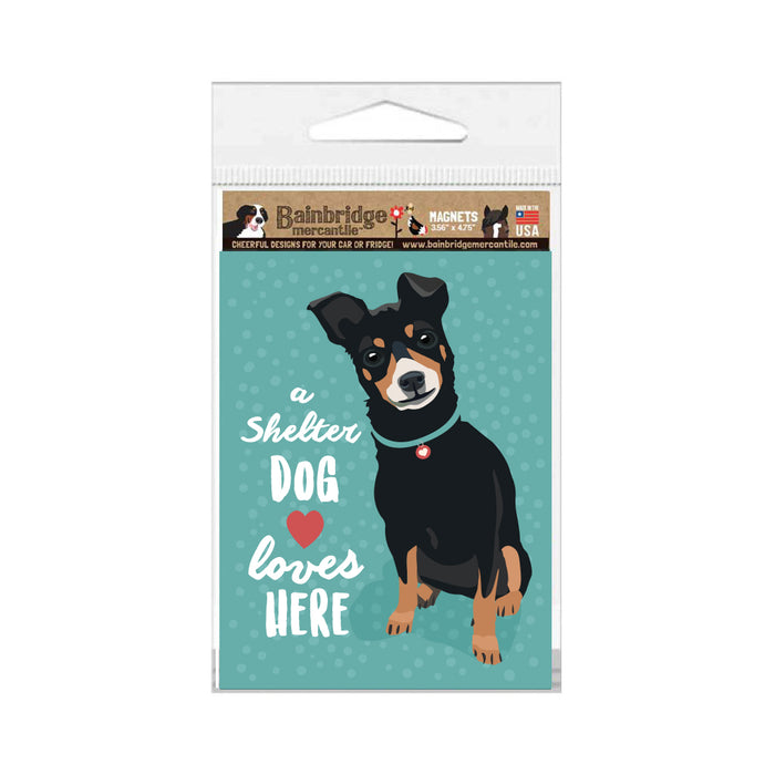 "Shelter Dog - A Shelter Dog Loves Here Magnet 3.56"" x 4.75"""