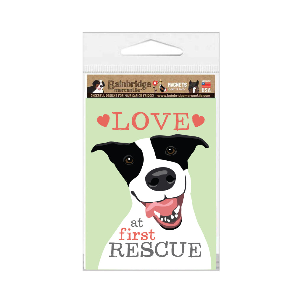 "Rescue Dog - Love at First Rescue Magnet 3.56"" x 4.75"""