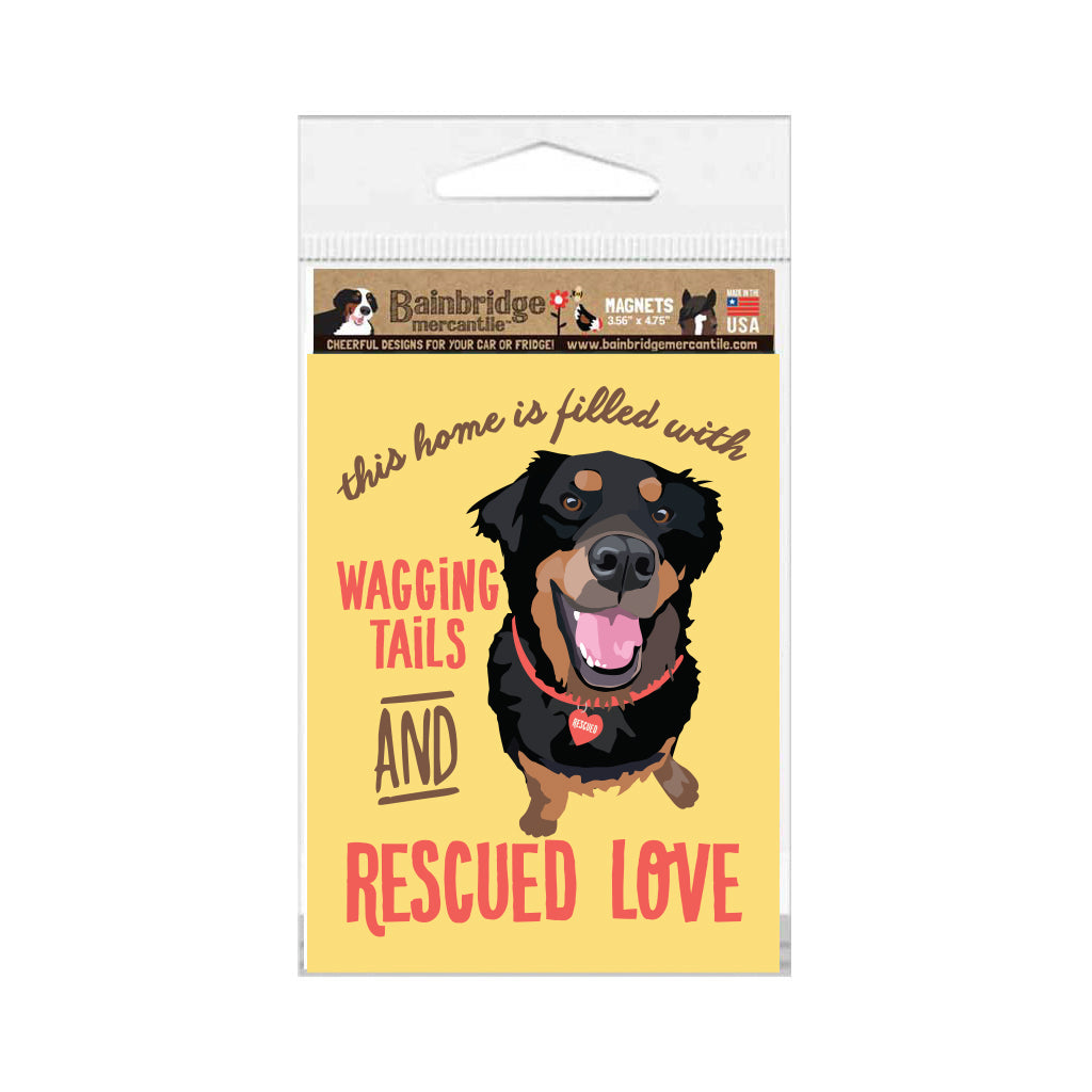 "Rescue Dog - Wagging Tails and Rescued Love Magnet 3.56"" x 4.75"""