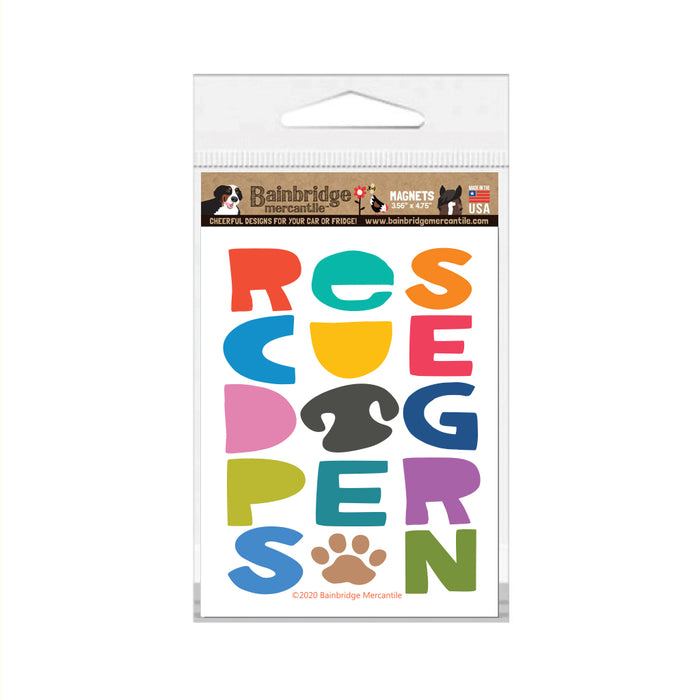 "Rescue Dog Person Magnet 3.56"" x 4.75"""