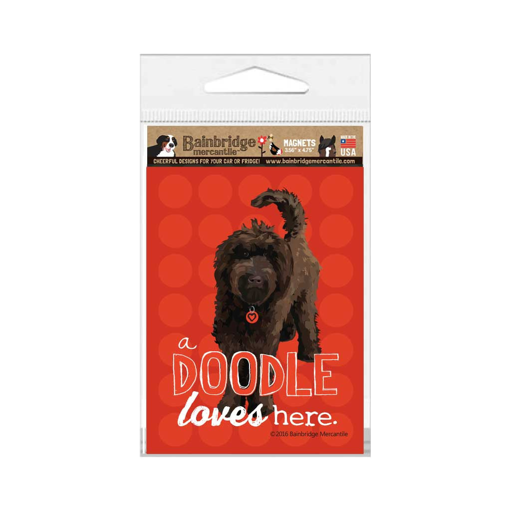 "A Doodle Loves Here (Chocolate Dog) Magnet - 3.56"" x 4.75"""