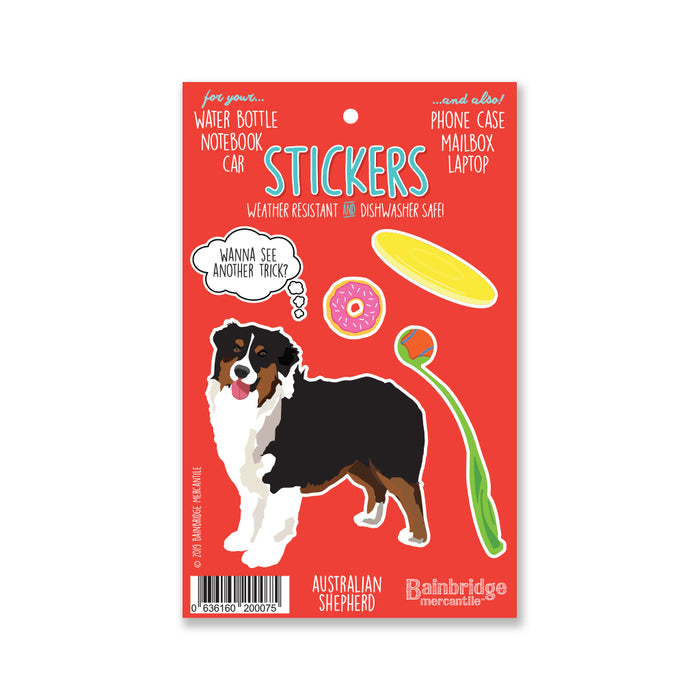 "Australian Shepard Black & Tan - Sticker Sheet 4"" x 6.50"""