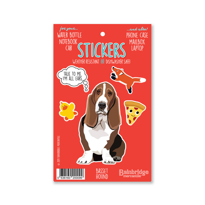 "Basset Hound - Sticker Sheet 4"" x 6.50"""