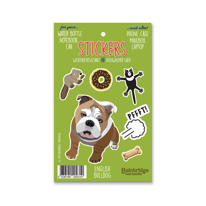 "English Bulldog - Sticker Sheet 4"" x 6.50"""