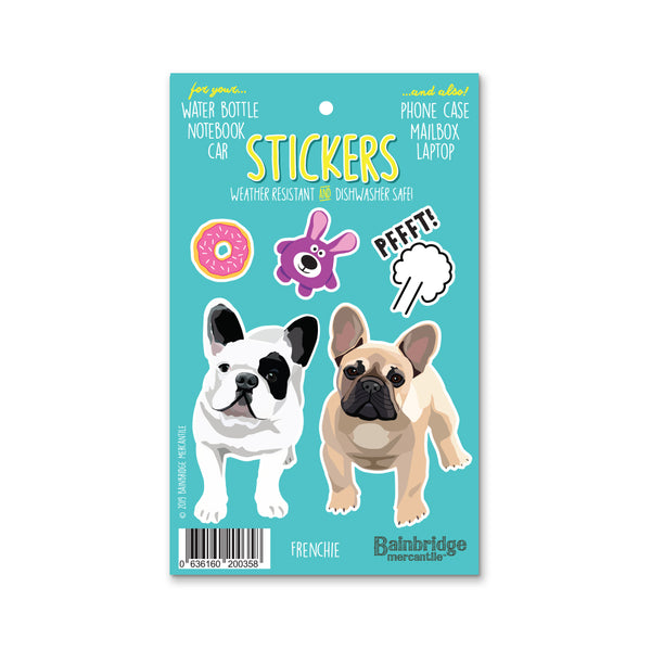 "Frenchie (White & Tan) - Sticker Sheet 4"" x 6.50"""