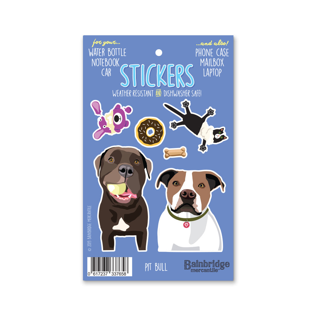 "Pit Bull (Brown & White) - Sticker Sheet 4"" x 6.50"""