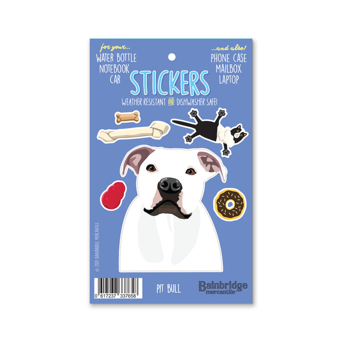 "Pit Bull (White) - Sticker Sheet 4"" x 6.50"""