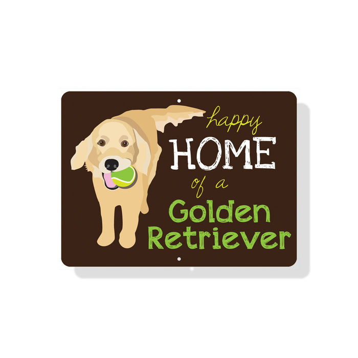 "Happy Home of a Golden Retriever Sign 12"" x 9"" Chocolate"