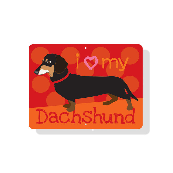 "I Heart My Dachshund Sign 12"" x 9"" Red"