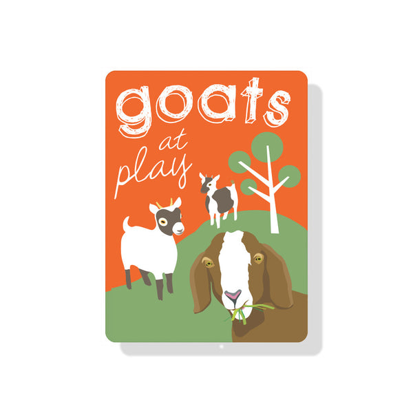 "Goats at Play Sign 9"" x 12"" Orange"