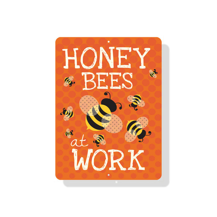 "Honey Bees at Work Sign 9"" x 12"" Tangerine"