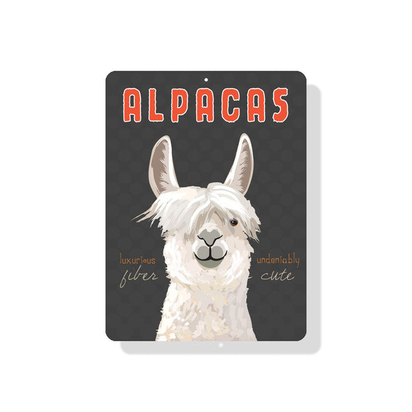 "Alpacas - Luxurious Fiber Undeniably Cute Sign 9"" x 12"" Gray"