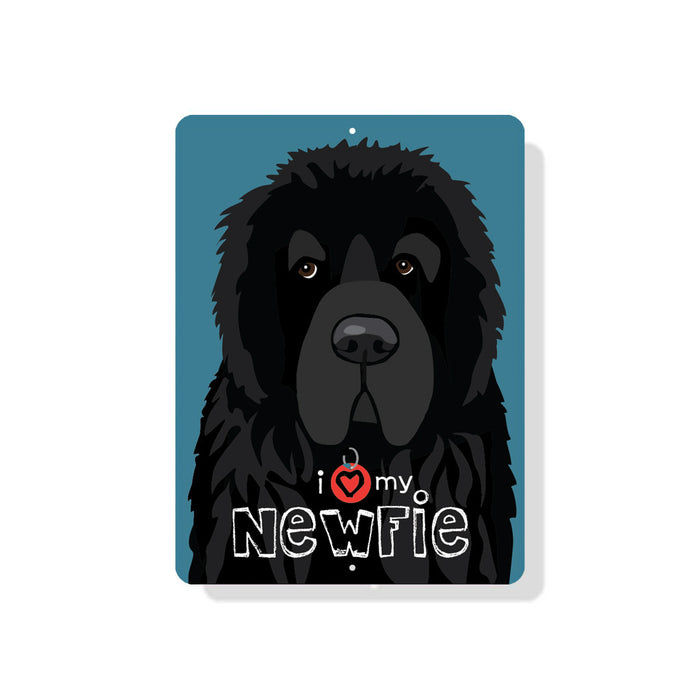 "I (Heart) My Newfie sign 9"" x 12"" - Slate Blue"