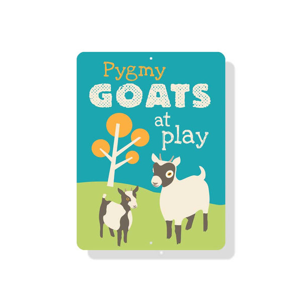 "Pygmy Goats at Play Sign 9"" x 12"" Blue"