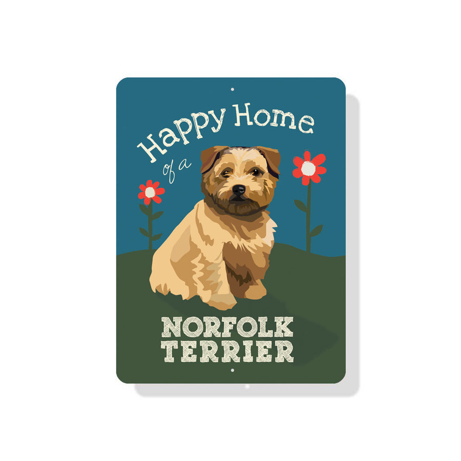 "Happy Home of a Norfolk Terrier sign 9"" x 12"" - Blue"