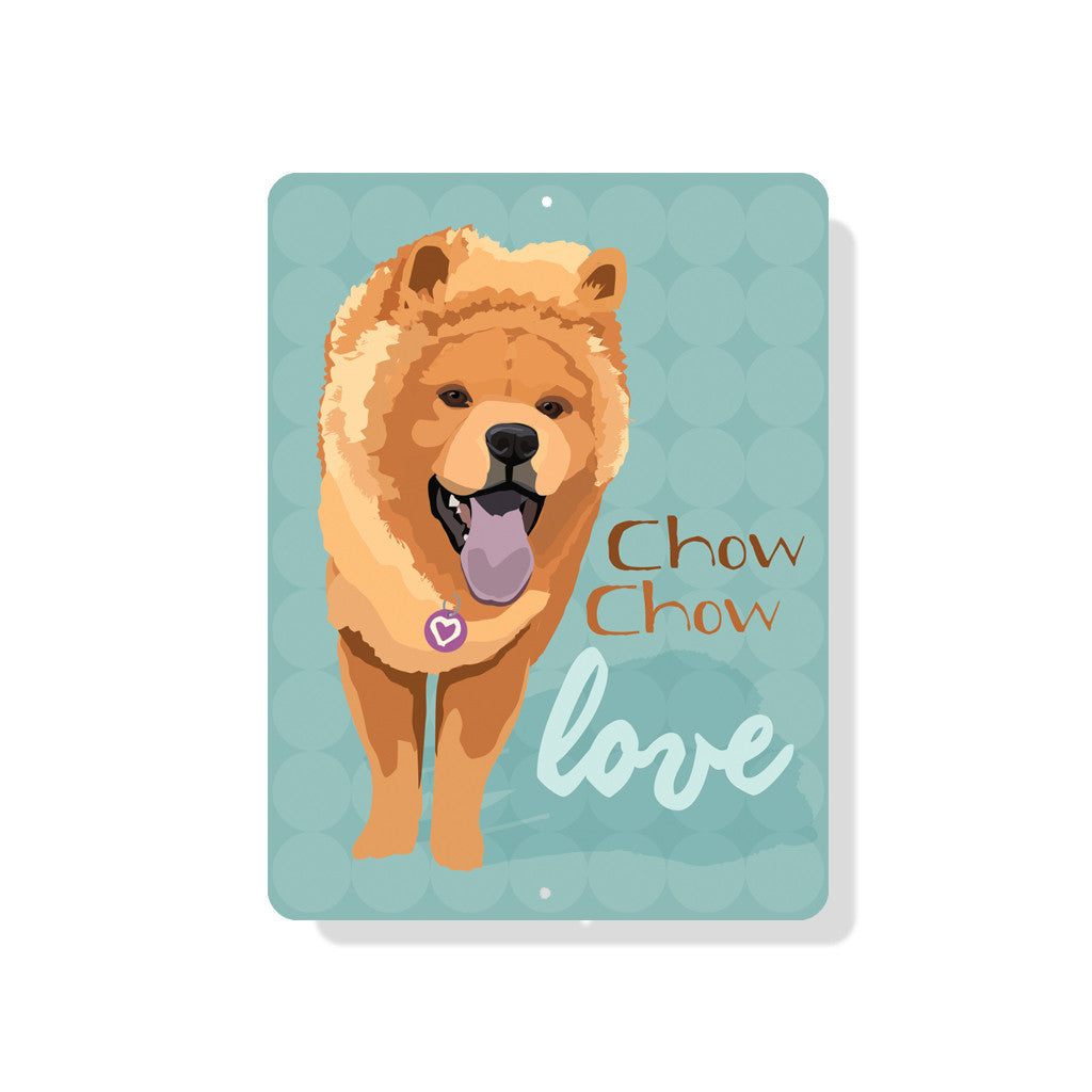"Chow Chow Love sign 9"" x 12""  -  Blue"