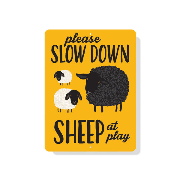 "Please Slow Down - Sheep at Play Sign 9"" x 12"" Mustard"