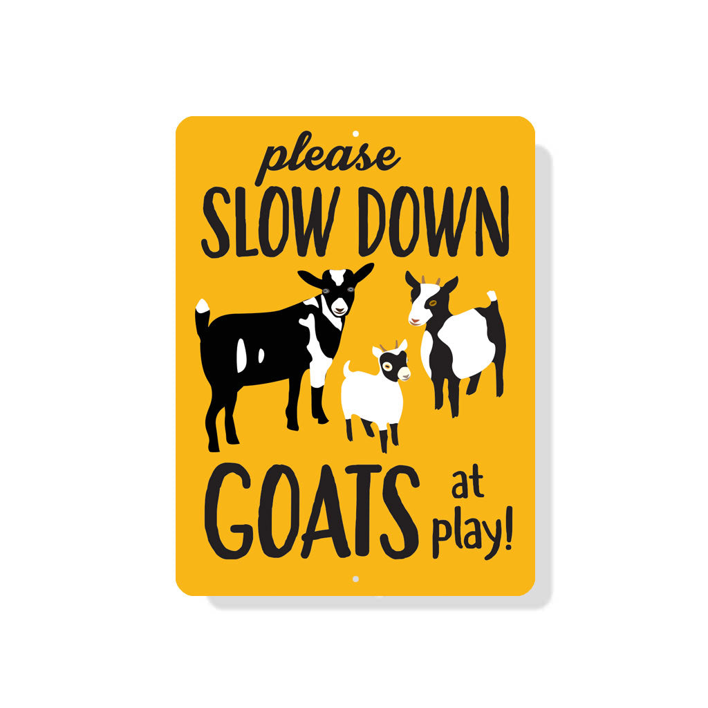 "Please Slow Down - Goats at Play Sign 9"" x 12"" Mustard"