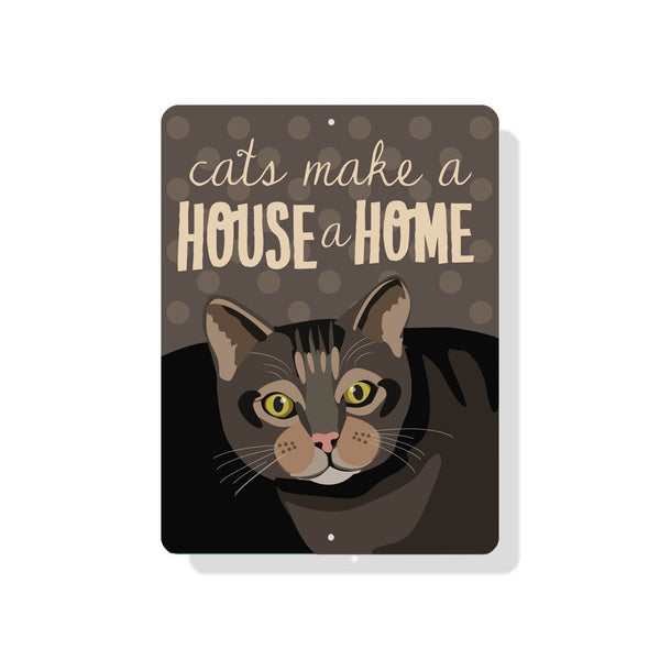 "Cat -Cats Makes a House a Home Sign 9"" x 12"""