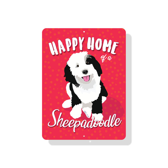 "Sheepadoodle - Happy Home of a Sheepadoodle sign 9"" x 12"""