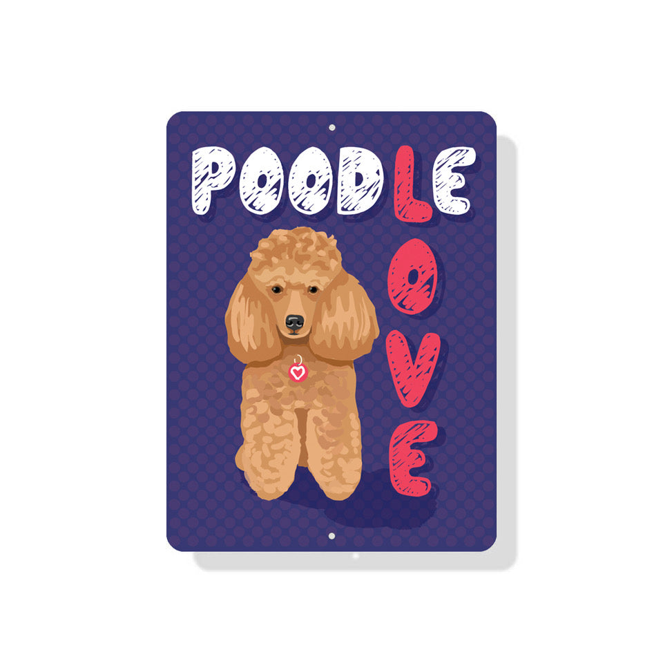 "Poodle Love sign 9"" x 12"" (Apricot Dog)"