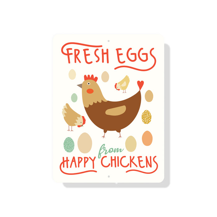 "Fresh Eggs From Happy Chickens (Cream) sign 9"" x 12"""
