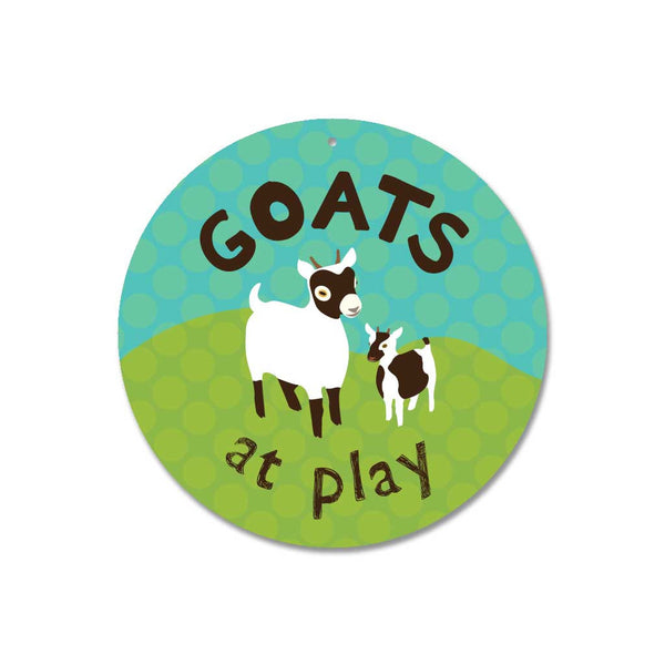 "Goats At Play Sign 9"" Round - Blue"