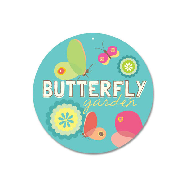 "Butterfly Garden Sign 9"" Round - Soft Blue"