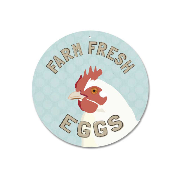 "Farm Fresh Eggs sign 9"" Round - Mineral Blue"